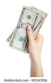 woman manicured hand given money isolate on white