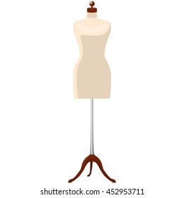 woman mannequin dummy tailor isolated raster illustration