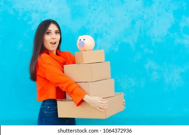 Woman with Many Cardboard Boxes Packages Received from Delivery Service. Happy shopper holding many parcels from online sales