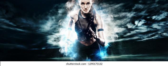 Woman marathon runner. Strong athletic sprinter, running on dark background wearing in sportswear. Energy fitness and sport motivation.