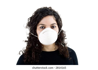 woman with mask - life in today's world, pollution concept