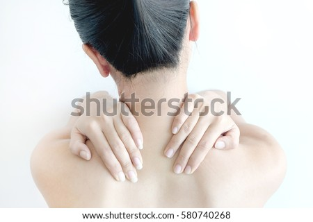 Woman Massage Neck Shoulder Neck Pain Stock Photo (Edit Now ...