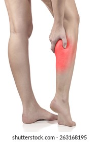 Woman massaging her painful leg calf. Joint injury or disease concept.