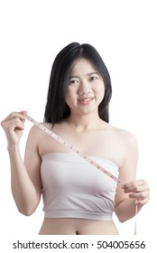Woman measuring obese isolated on white background. Clipping path on white background