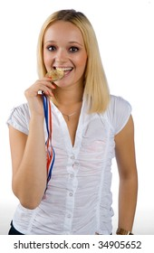 woman with medal