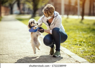 A woman in a medical protective mask is spending time and walking with her cute little Shih Tzu dog during allergy or flu virus outbreak and coronavirus epidemic.
