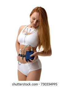 Woman medical test holter monitor device for daily monitoring of an electrocardiogram 24 hour Heart investigation activity isolated on a white background