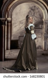 Woman in medieval dress looking back, antique interior background