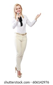 woman with microphone full body isolated pointing at you