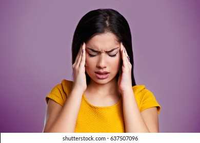 Woman with Migraine. Girl with Headache isolated