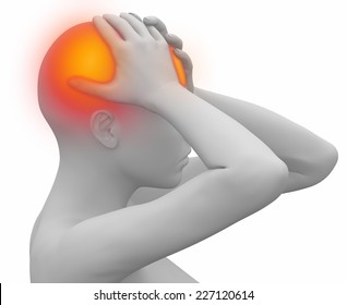 woman migraine on white