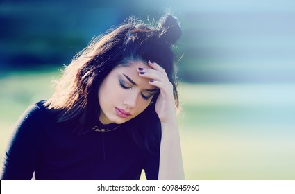 Woman with Migraine. Stress and Depression Concept