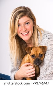 Woman with mixed breed dog