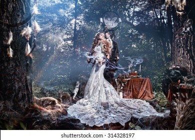 Woman model bride in a mystical forest. The mystical atmosphere, haze, forest.