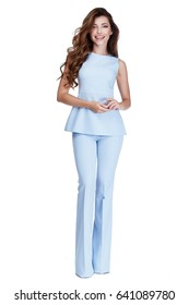 Woman model fashion style dress beautiful secretary diplomatic protocol office uniform stewardess hostess business lady perfect body shape brunette hair wear light blue color suit elegance casual.