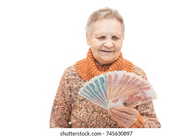 woman with money in hands on white background