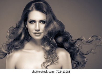 Woman monochrome portrait with beautiful hair and beauty skin. Black and white.