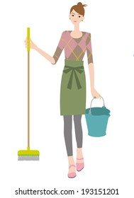 A woman with mop and bucket. Cleaning