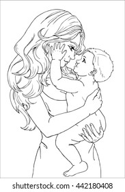 The woman, mother holds on hands of the kid and they happily and joyfully look at each other contour line on white background
