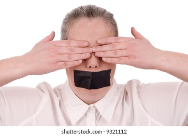 Woman with mouth taped and hands over her eyes closed over a white background