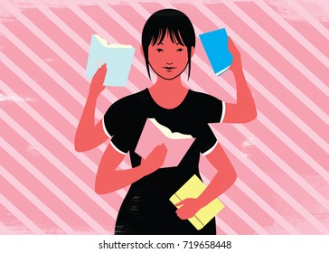 Woman with multiple arms reading books