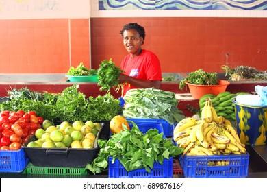 Woman in municipal market, Mindelo, Sao Vicente, Cape Verde Islands, Africa. Picture taken in January 2012, Mindelo, island of Sao Vicente, Republic of Cabo Verde