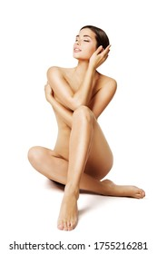 Woman Naked Sexy Body, Beautiful Sensual Girl Sitting on White, Skin Care and Treatment Concept
