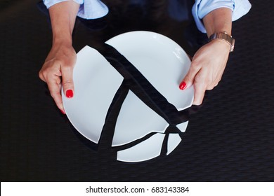 Woman near broken plate concept of broken family or relations