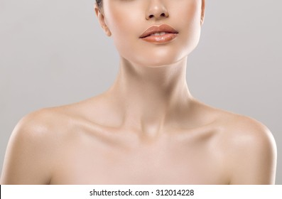 Woman neck shoulder lips nose