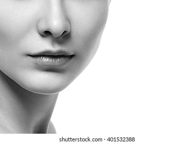 Woman neck shoulder lips nose black and white