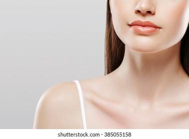 Woman neck shoulders smile