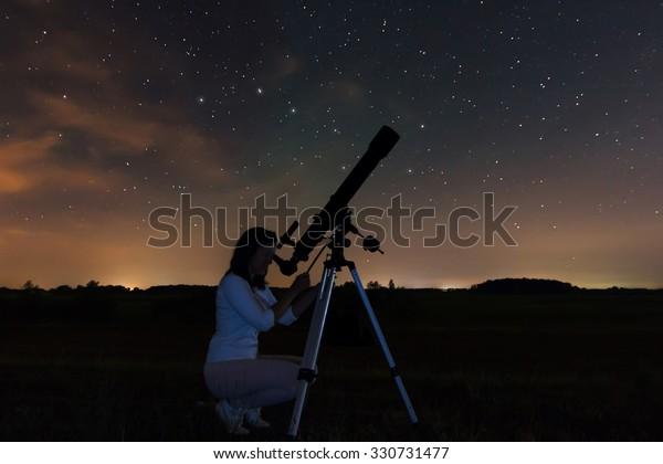 Woman and night sky. Watching the stars Woman under Night sky, constellations, Draco, Ursa Major, Big Dipper, Botes. . Real night sky. Starry night.