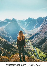 Woman in Norway mountains Travel healthy lifestyle concept active weekend summer vacations tourist enjoying landscape aerial view
