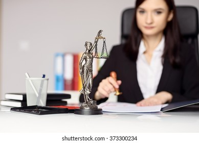 Woman notary public  stamping the document. Notary public concept