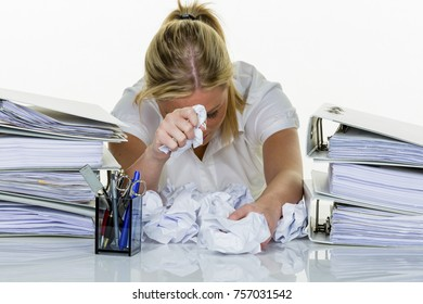 woman in the office with burnout