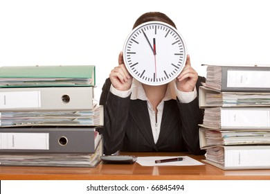 Woman in office has stress because of time pressure. Isolated on white background.