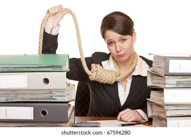Woman in office with sling around head is forced to suicide because of bankruptcy.