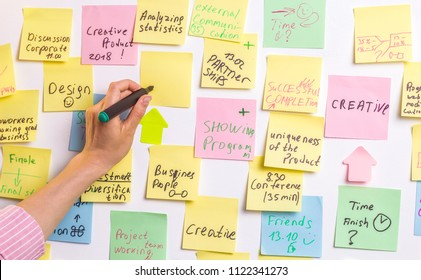 A woman at the office takes notes on a whiteboard. A creative designer writes down ideas for business development.