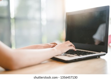 Woman office worker is pressing enter - Image
