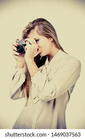 woman with old camera vintage style
