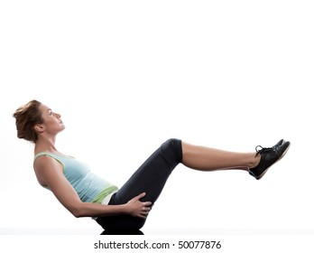 woman on Abdominals  workout posture on white background.