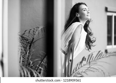 woman on the balcony