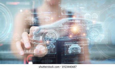 Woman on blurred background holding and touching holographic smart car interface projection 3D rendering