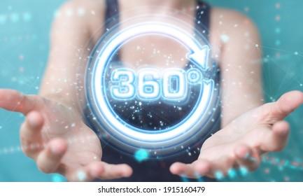 Mujer con fondo borroso usando representación 3D de 360 grados de realidad virtual neon interface
