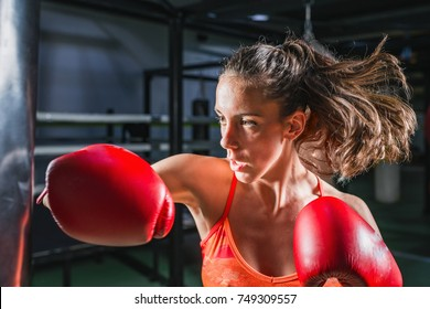 Woman on boxing training