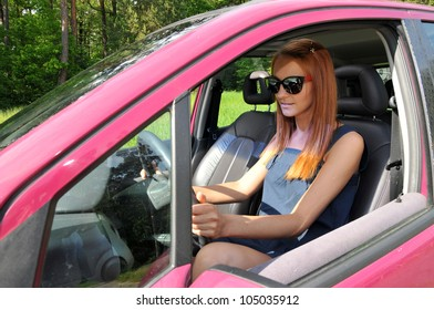 Woman on the car