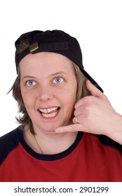 Woman on a comedy hand phone with baseball hat and t-shirt, over white