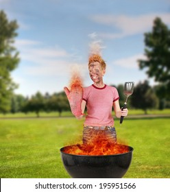 a woman on fire in front of a barbecue during a picnic