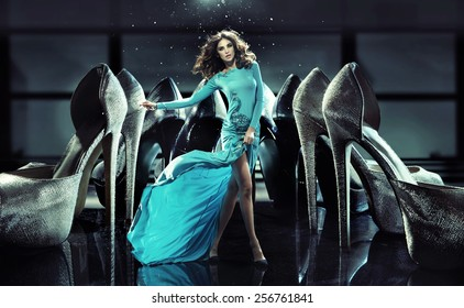Woman on high heels fashion photo
