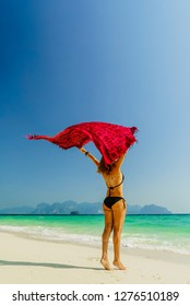 Woman on holidays at the tropical beach